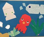 7月 制作1.2歳ワカメや岩などの紙は折り紙、色紙の切れ端を再利用魚は色々な色から選んだ目はシール
