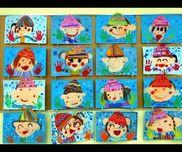 2月壁面4歳児手袋は自分の手形を。帽子は自分の好きな柄を描いてしましまやカラフルなニットを着せました!