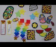 ☆1歳児☆7月の製作糊→虹色つづりお絵描き→スイカ糊・お絵描き→星