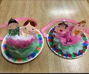 【ひな人形】✳︎5歳児✳︎雛祭り時期✳︎紙皿・お花紙・リボン・色画用紙・千代紙・クレヨン・折り紙・水性ペン