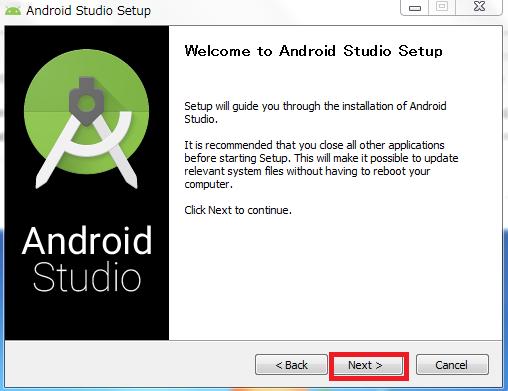 Android Studio3のセットアップ画面