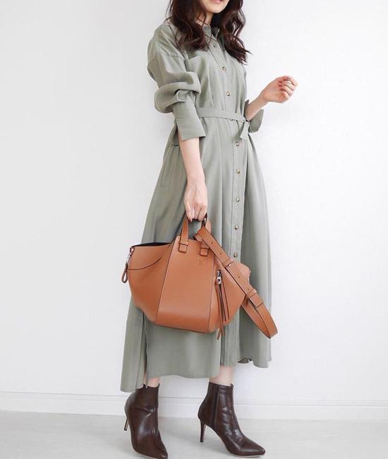 ミリタリーロングシャツドレス