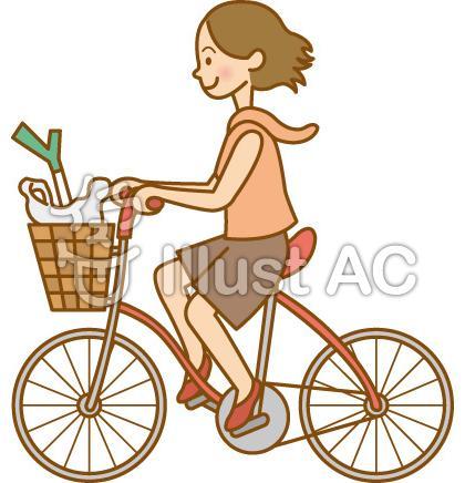 女性/自転車で買い物イラスト ...