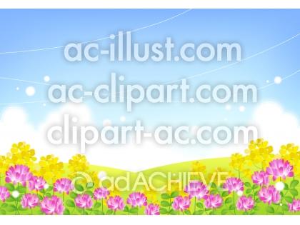 れんげと菜の花畑のイラスト