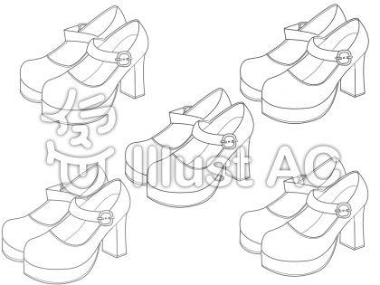 ロリータ靴線画