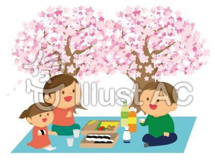 お花見をする家族