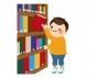 本棚と男の子