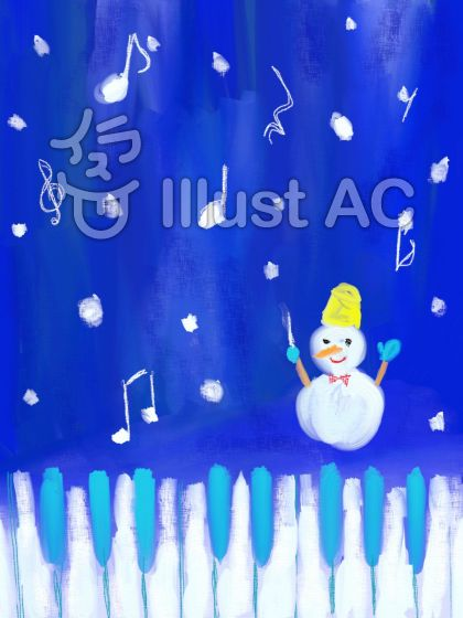 ピアノと雪だるまのイラスト