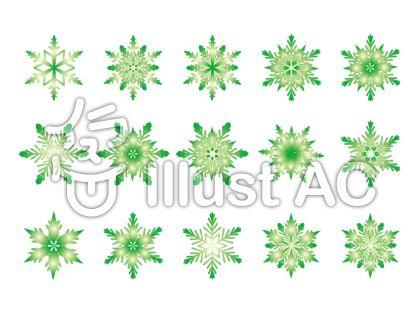 雪の結晶-緑