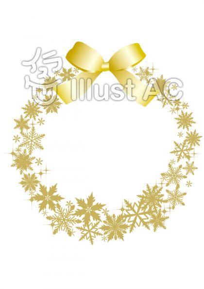 雪の結晶リース 金色