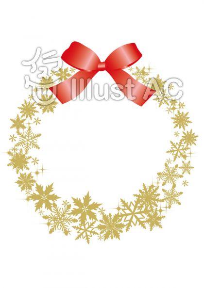 雪の結晶リース 金色 りぼん赤