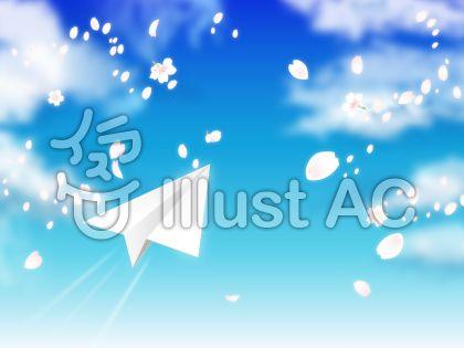 青空と桜吹雪と紙飛行機