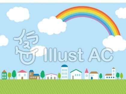 飾りの素材012 虹のあるまちなみ