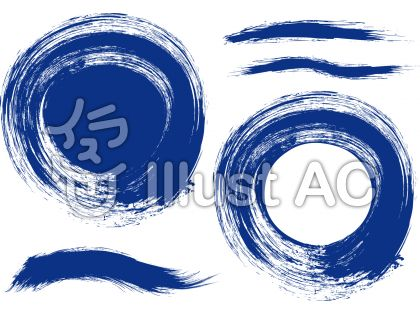 群青色筆習字和風書道フレーム枠背景円丸枠