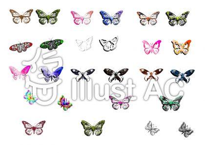 少し立体的な蝶の詰め合わせのイラスト