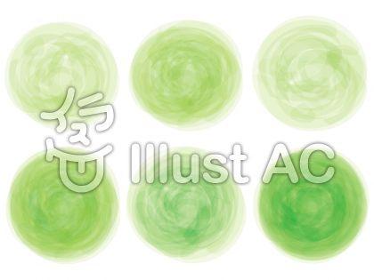 緑色グリーン手書き水彩画アナログ風飾り枠