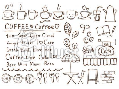 カフェ風ペン画イラスト