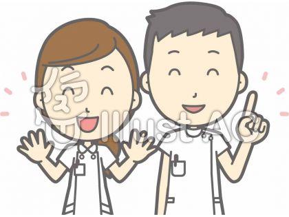 看護師男女-指差しニコニコ-バスト
