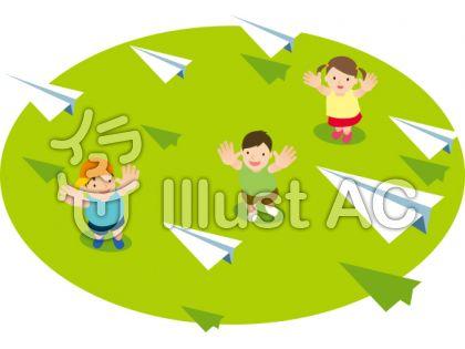 子どもが見上げる紙飛行機