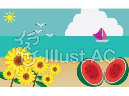 真夏の風景のイラスト