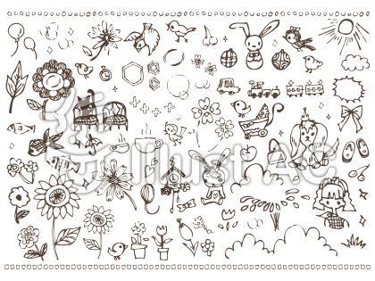 手書きガーリーかわいいイラスト素材集小鳥