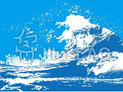 波飛沫海面サーフィン和風和柄迫力背景素材