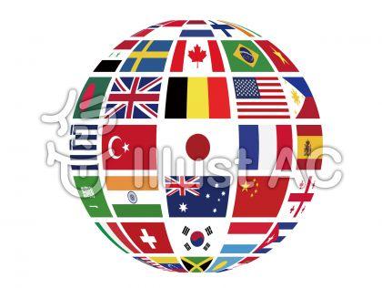 国旗地球 立体