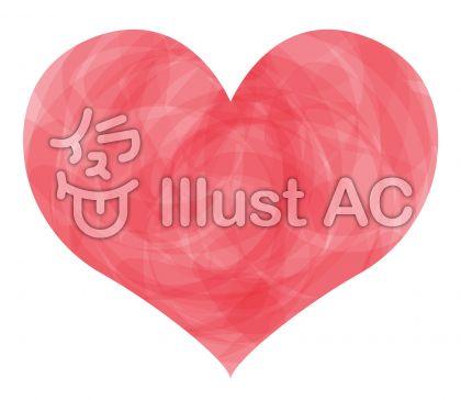 手書き水彩ピンクハートアイコンシンボル絵