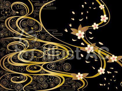 和柄背景黒と金の波