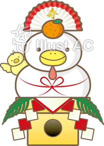 鶏の鏡餅イラスト