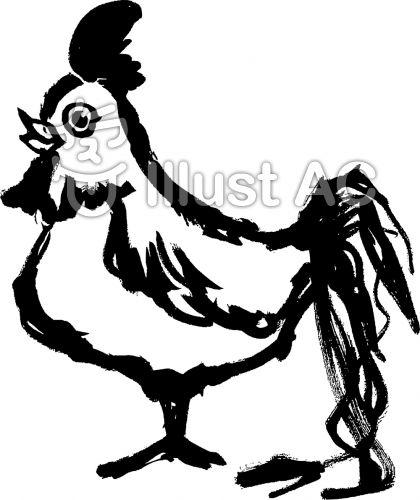 リアル風鶏の筆かきイラスト