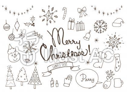 クリスマスかわいい系手書き白