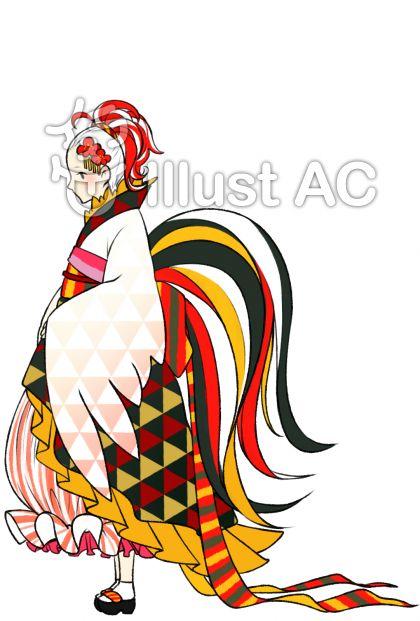 鶏モチーフ着物の女の子