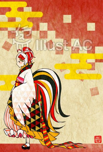 鶏着物の女の子(背景有)