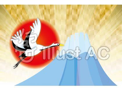 新春お祝い金背景の鶴と富士山年賀状