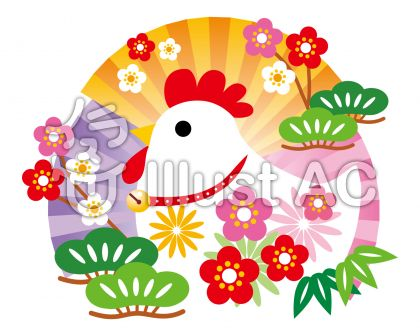 扇と松竹梅の酉年イメージ