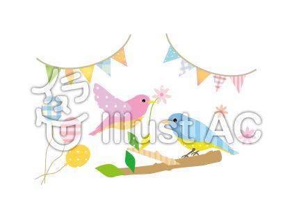 小鳥とフラッグと風船