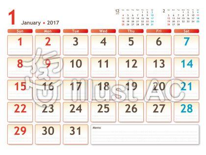 2017年カレンダー 白バック 1月