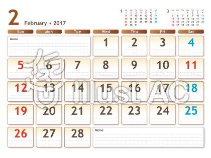 2017年カレンダー 白バック 2月