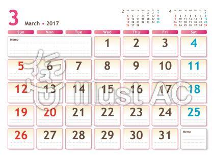 2017年カレンダー 白バック 3月