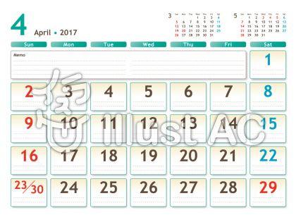 2017年カレンダー 白バック 4月