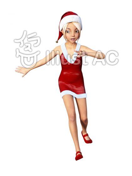 あわてるクリスマスコスチュームの少女のイラスト