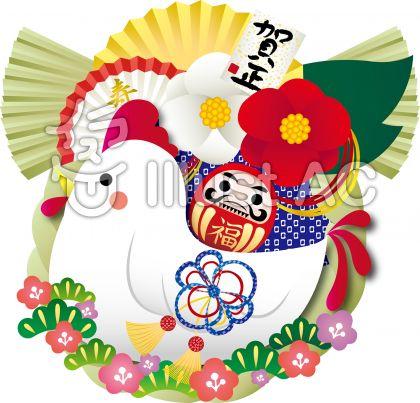 鶏しめ縄飾りイラスト