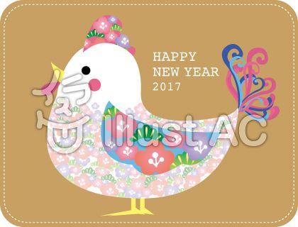 花柄の鶏年賀状用イラスト