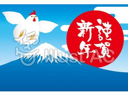 謹賀新年富士山と鶴になりたいにわとり