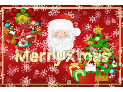 クリスマスカードサンタ&ツリー1(赤)