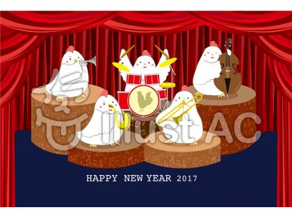 年賀状テンプレート演奏するニワトリ