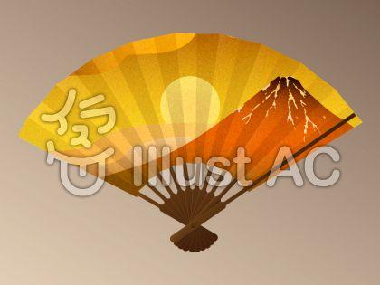 扇子 金箔風 赤富士に日の出影無し