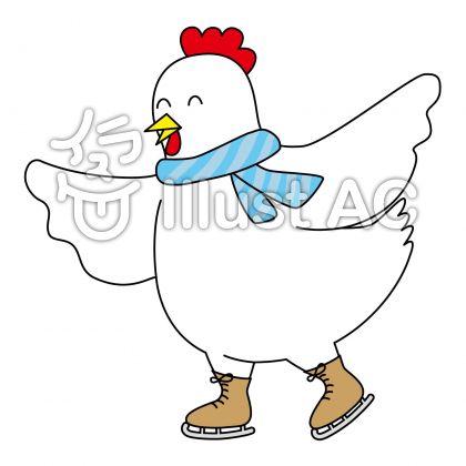 スケートをしている雄鶏