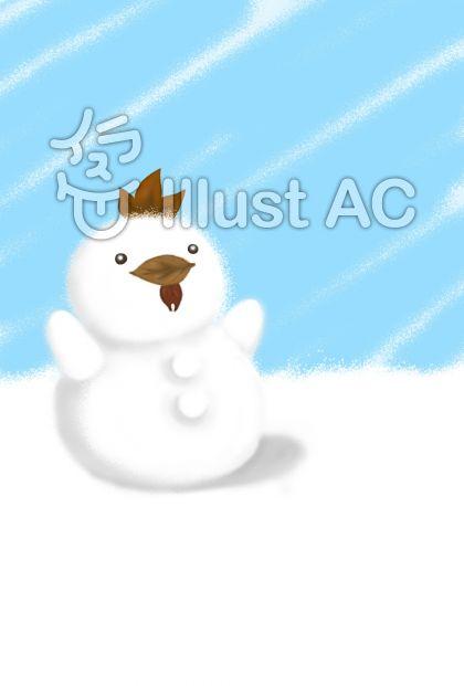 にわとり雪だるま(シンプル)